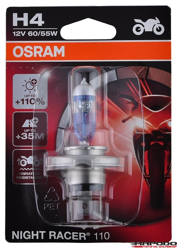 Osram Night Racer H4 +110% mehr Licht